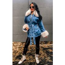 Modrá zateplená rifľová bunda s kožušinou-223401-06