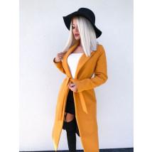 Dámsky žltý predlžený kabát na viazanie-196913-01