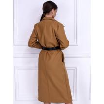 Hnedý dlhý kabát s opaskom-255915-01