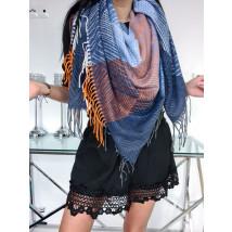 Modrý viacfarebný bavlnený šál-226133-03