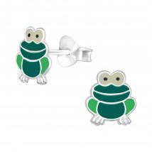 Detské strieborné náušnice žabka-232038-01