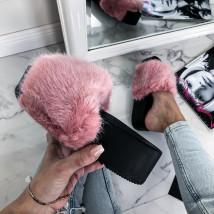 Ružové kožušinové šľapky na platforme-226280-02