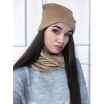 Hnedá zamatová súprava čiapka a šál-225244-02