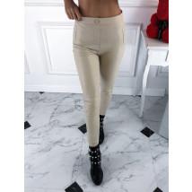 Béžové jemne zateplené koženkové nohavice-220743-02