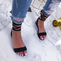 Čierne šnurovacie sandále-210250-02