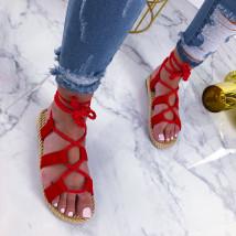 Červené šnurovacie sandálky-210194-01