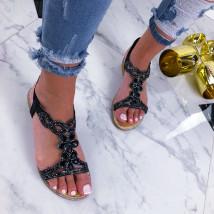 Čierne dámske sandálky zdobené kamienkami-210114-01