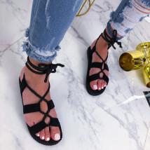 Čierne šnurovacie sandálky-210201-04