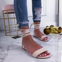 Béžové šnurovacie sandále-210257-04