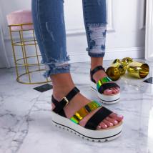 Čierme sandálky na platforme-210182-01