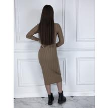 Hnedé dlhé pletené šaty-225486-01
