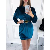Modré zamatové šaty s opaskom-223433-01