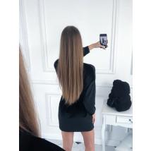 Čierne zamatové šaty s opaskom-223434-04