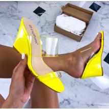 Žlté transparentné sandále na platforme-212551-01