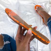 Oranžové šľapky s hadím vzorom-213370-02