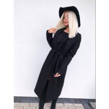 Dámsky čierny predlžený kabát na viazanie-196936-08