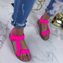 Neónové cyklamenové pohodlné sandálky-207501-03