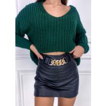 Čierna koženková kraťasová sukňa-255946-02