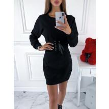 Čierne šaty s opaskom-220081-08