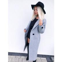 Dámsky sivý predlžený kabát-195556-018