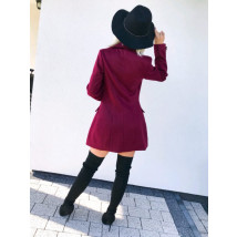 Dámsky bordový elegantný kabát-195582-01