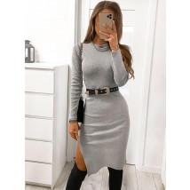 Sivé bavlnené šaty s rozparkom-226777-02